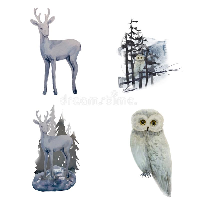Watercolor winter landscape with owl and deer on tree in forest stock illustration
