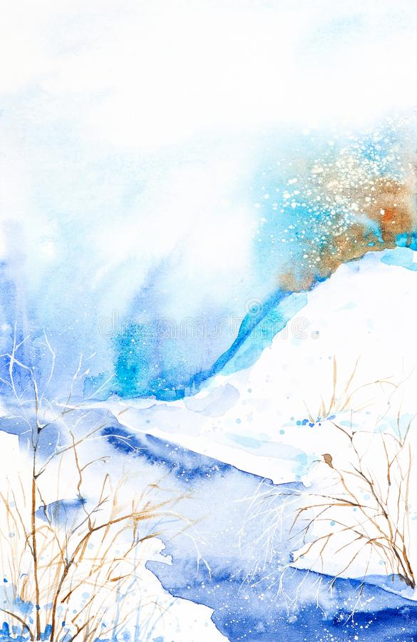 Watercolor winter landscape. Snow-covered valley with current stream and trees stock illustration