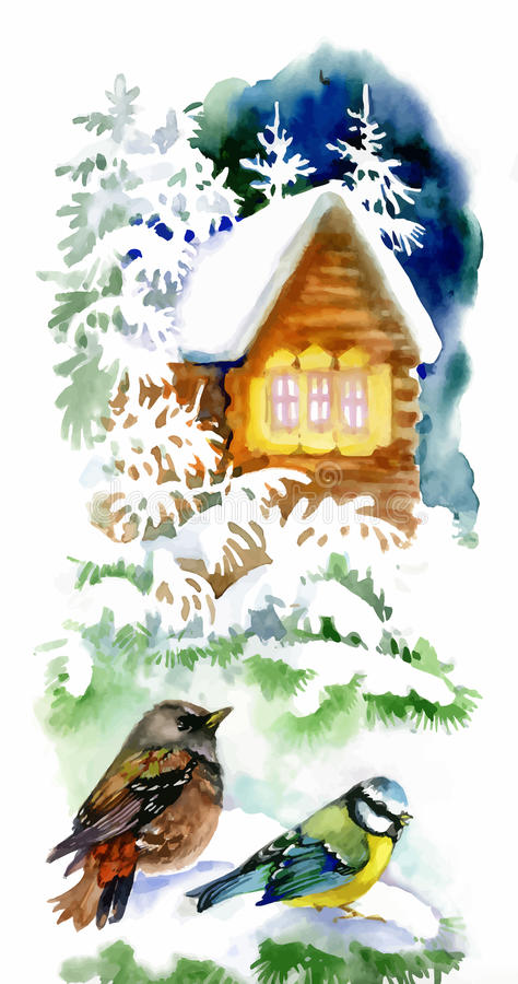Watercolor winter landscape with snowy house with birds illustration. vector illustration
