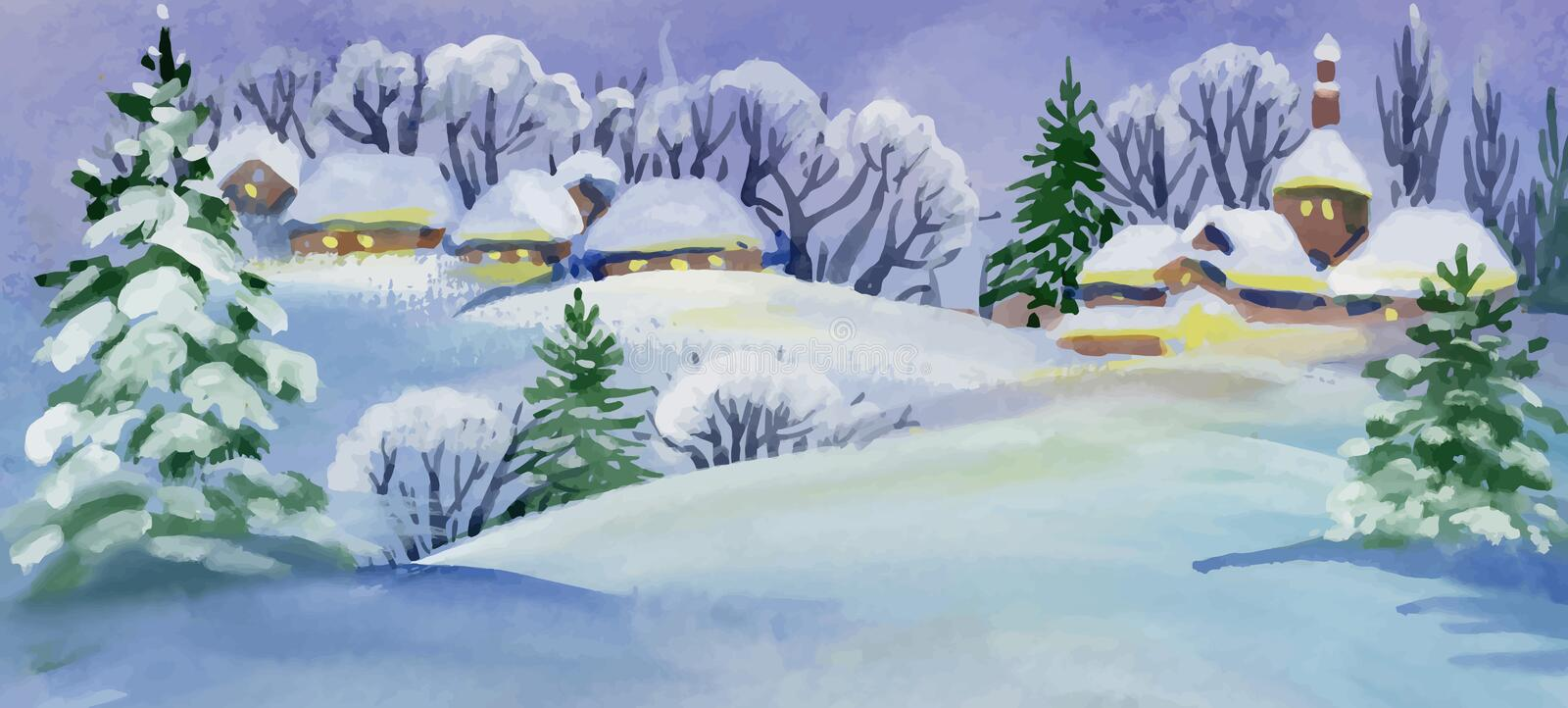 Watercolor winter landscape with snowy houses illustration. royalty free illustration