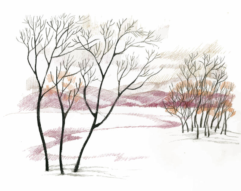 Watercolor winter landscape stock illustration