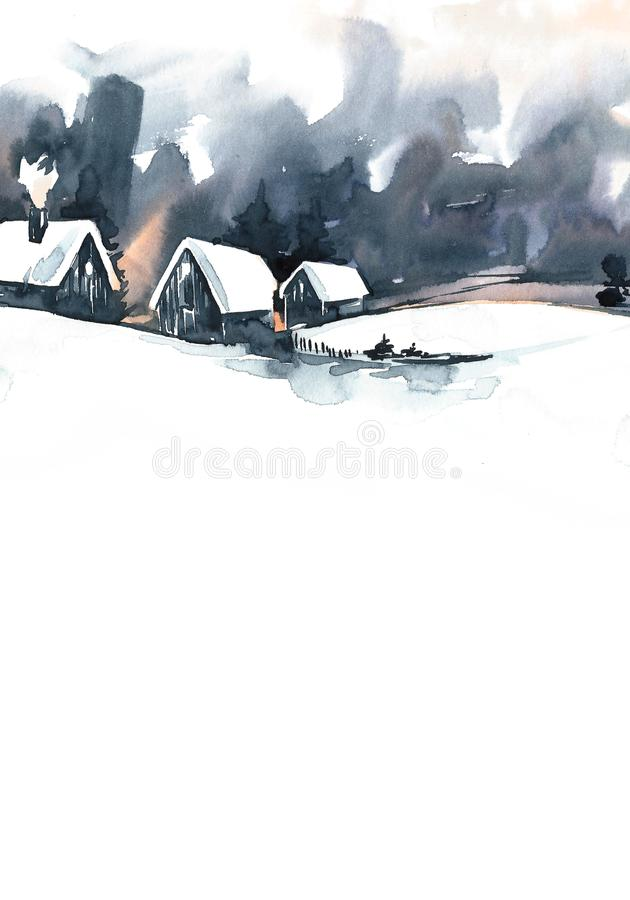 Watercolor Winter Landscape. Vintage Christmas watercolor greeting card with cozy countryside winter landscape royalty free illustration