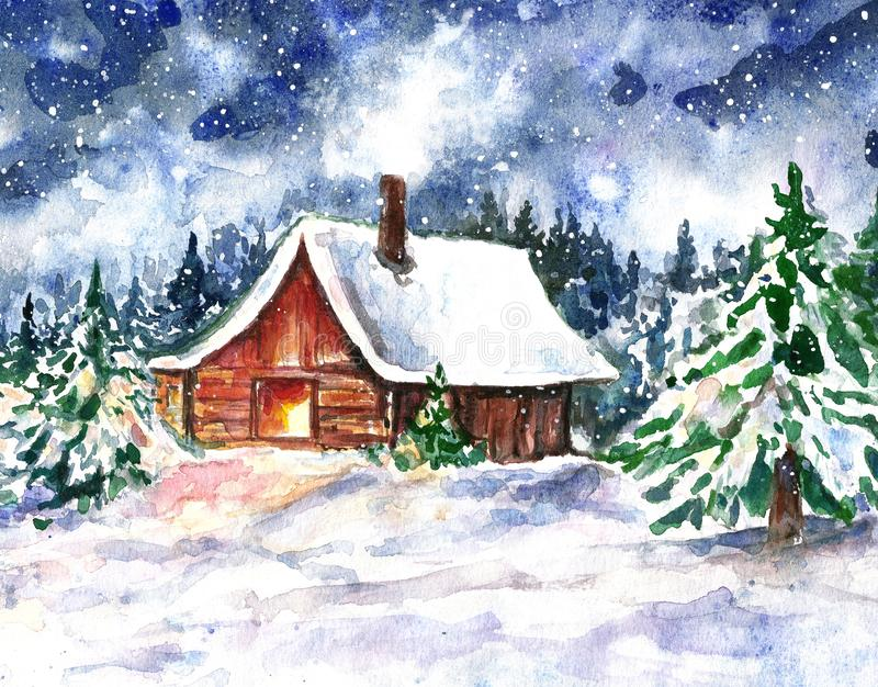 Watercolor winter night illustration with house in a snow forest. Christmas eve night. Cozy wood log cabin and pine trees royalty free illustration