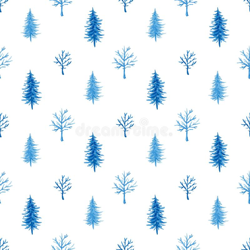 Watercolor winter pattern with tree royalty free illustration