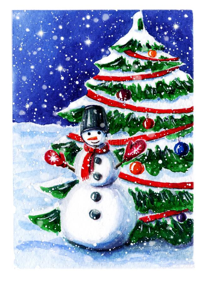 Watercolor winter scene with snowman and snofall. cute seasonal landscape with smiling snowman near spruce christmas tree. merry royalty free illustration