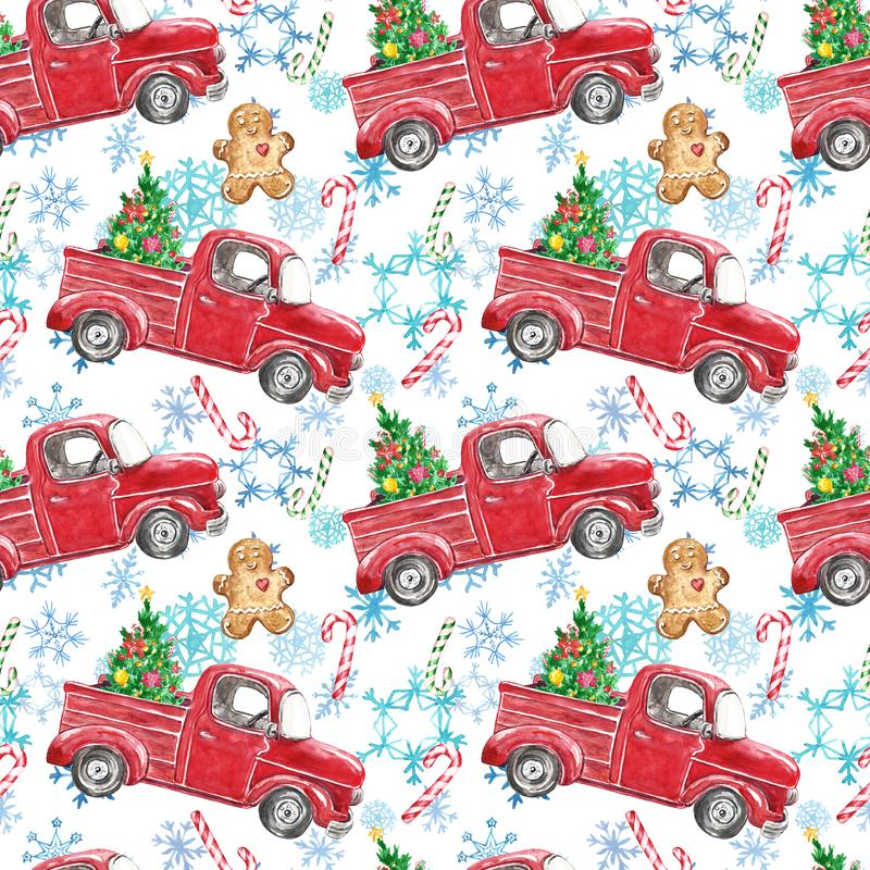 Watercolor winter seamless pattern with red Christmas truck, festive fir tree, candy cane, gingerbread men, snowflakes on white royalty free illustration