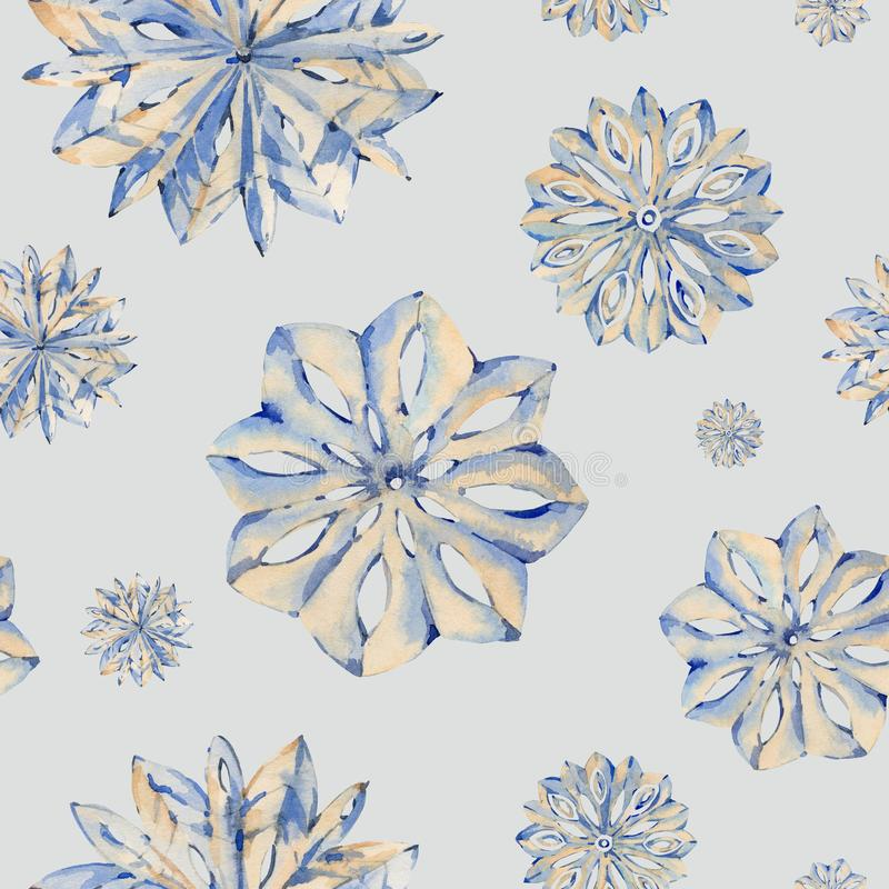 Watercolor winter seamless pattern with snowflakes, hand painted artistic lace texture stock illustration