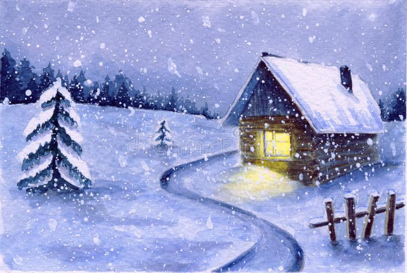 Watercolor winter snowy night landscape. cute night snowfall scene outdoor. country house with light in window and dark forest in stock illustration