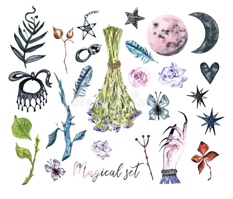 Watercolor withcarft halloween set. Collection of hand painted magic elements. Moon witch stock illustration