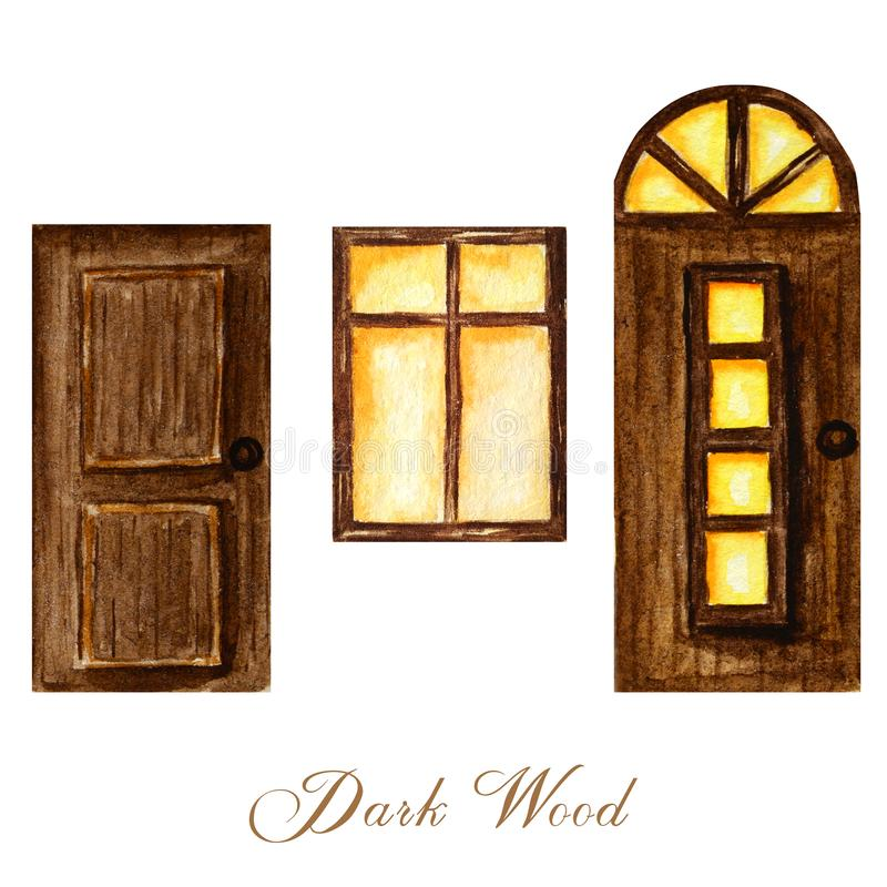 Watercolor wodden doors with windows and luminous window in vintage style on white background. Hand drawing of dark royalty free illustration