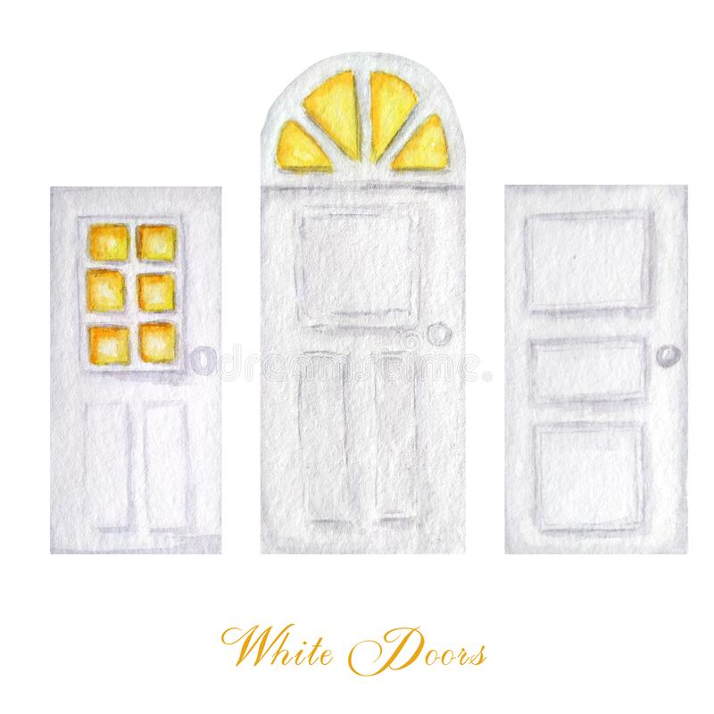 Watercolor wodden doors with windows in vintage style on white background. Hand drawing of white door set. stock illustration