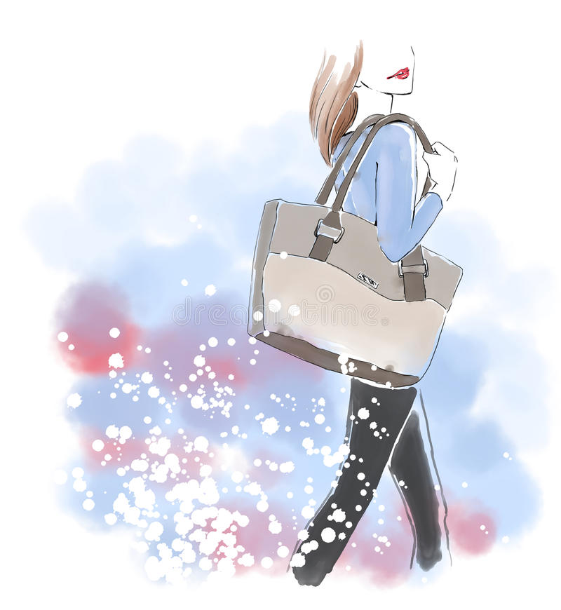 Watercolor woman with hand bag, fashion illustration stock illustration