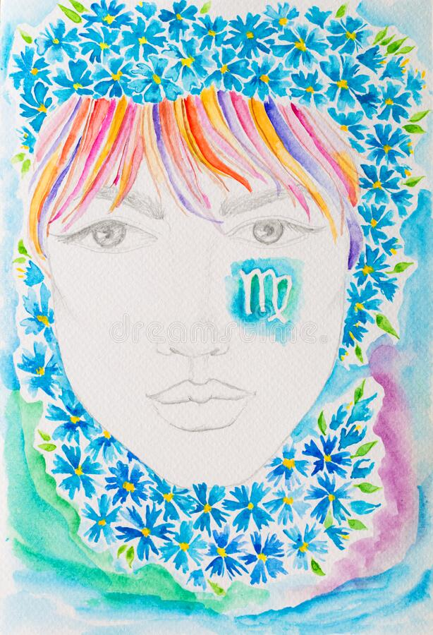 Watercolor woman portrait with flowers. Virgo zodiac sign. Watercolor woman portrait with flowers. Virgo zodiac sign royalty free stock images
