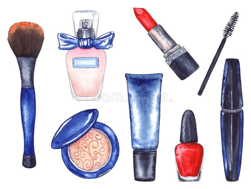 Watercolor women`s mascara cream tube red lipstick nail polish brush powder perfume cosmetics make up set isolated.  vector illustration