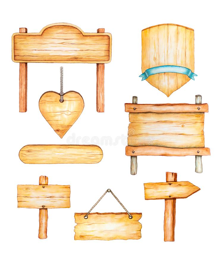 Watercolor wood signposts. In different shapes and sizes. Traditional watercolor illustration royalty free illustration