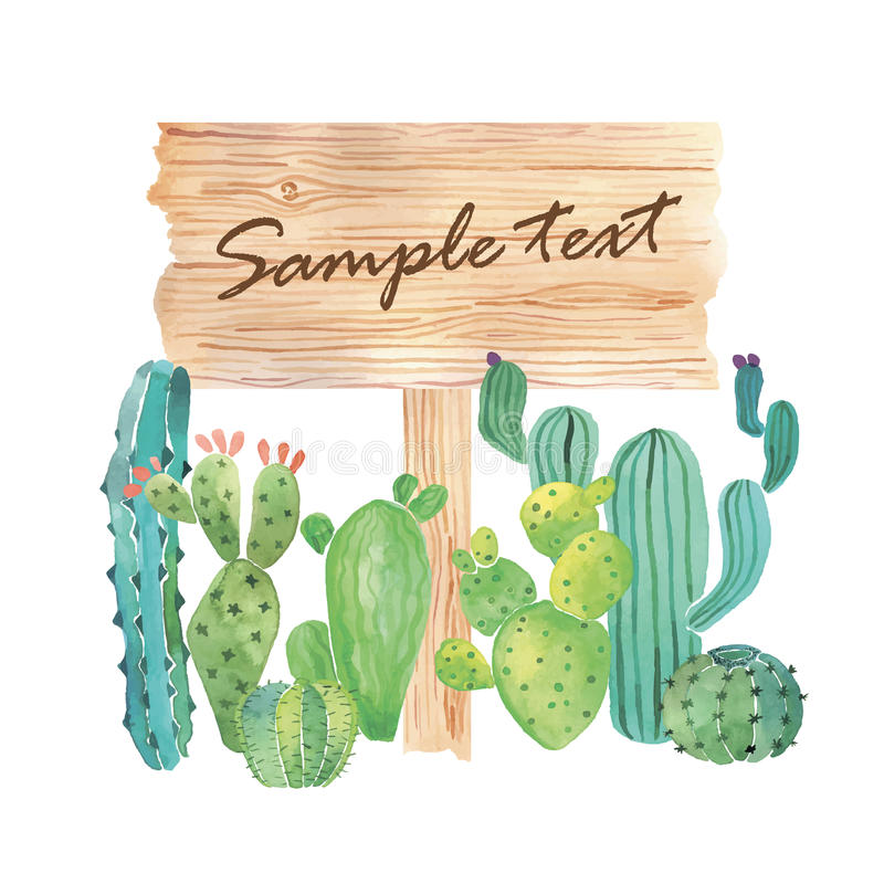 Watercolor wood slice banner with succulents stock illustration