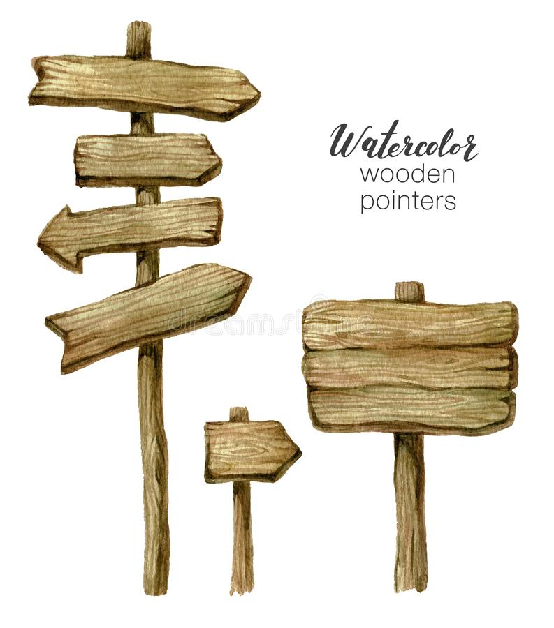 Watercolor wooden sign boards and arrows set. Handpainted collection watercolor wood planks clipart. Rustic illustration royalty free illustration