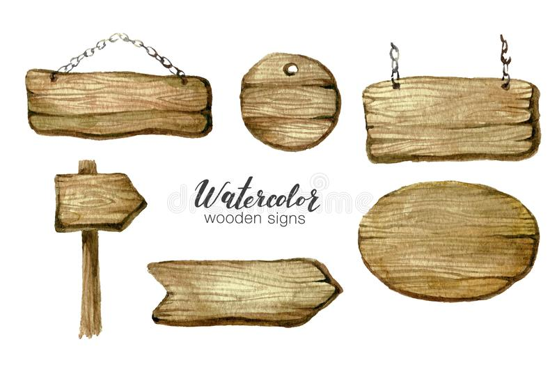 Watercolor wooden sign boards and arrows set. Handpainted collection watercolor wood planks clipart. Rustic illustration. Template for blog, lettering, poster royalty free illustration