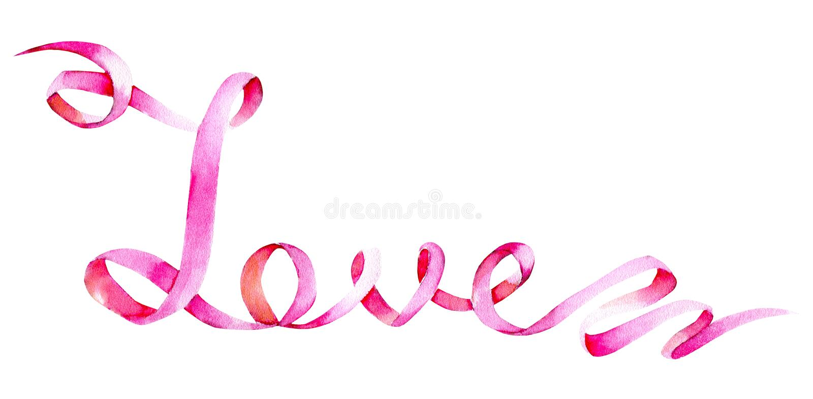 Watercolor word `Love` from the tape illustrations, hand painted isolated on a white background. For Valentine`s Day greeting card, wedding card, romantic vector illustration