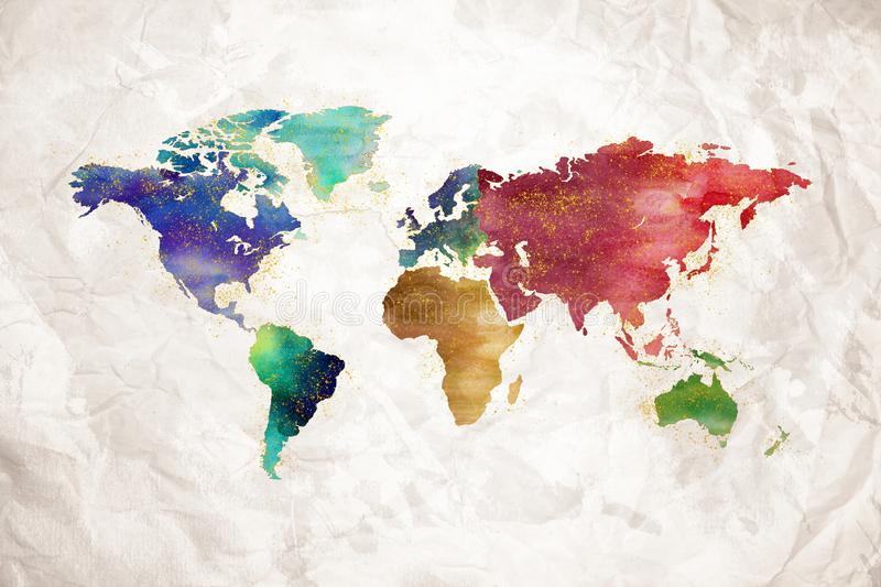 Watercolor world map artistic design vector illustration