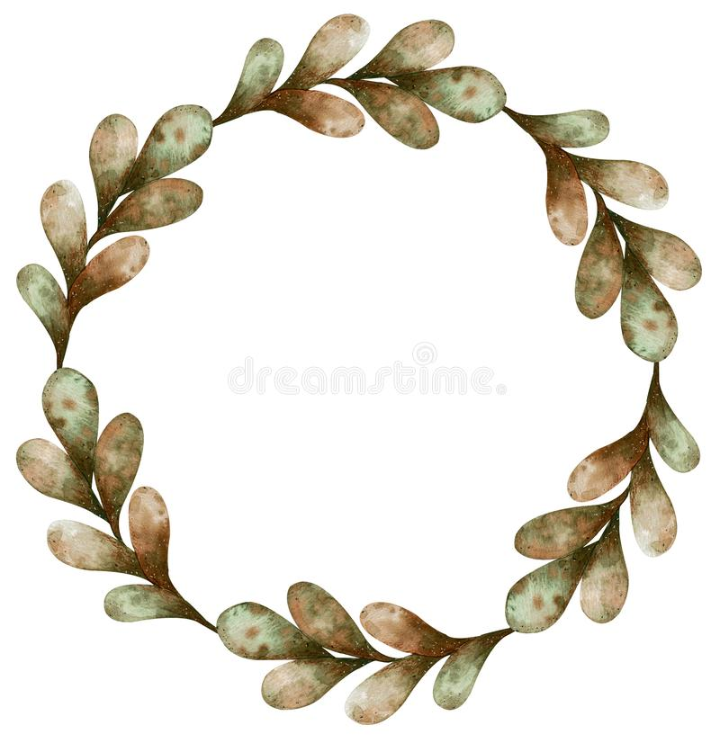 Watercolor wreath of autumn light green and brown leaves isolated on white background. Cartoon style illustration. stock illustration
