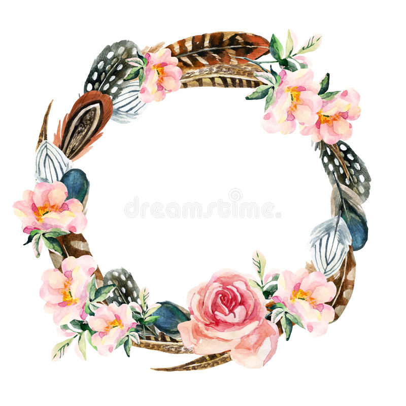 Watercolor wreath with bird feathers and flowers. Watercolor wreath with bird feathers and briar flowers isolated on white background. Colorful feathers and pink