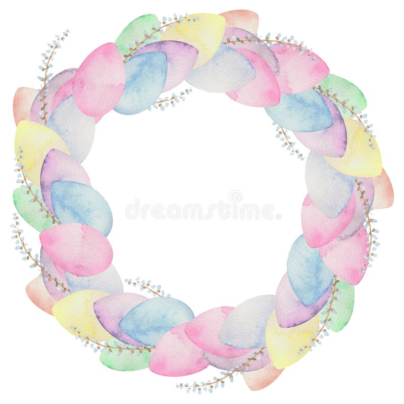 Watercolor wreath with colorful easter eggs stock illustration