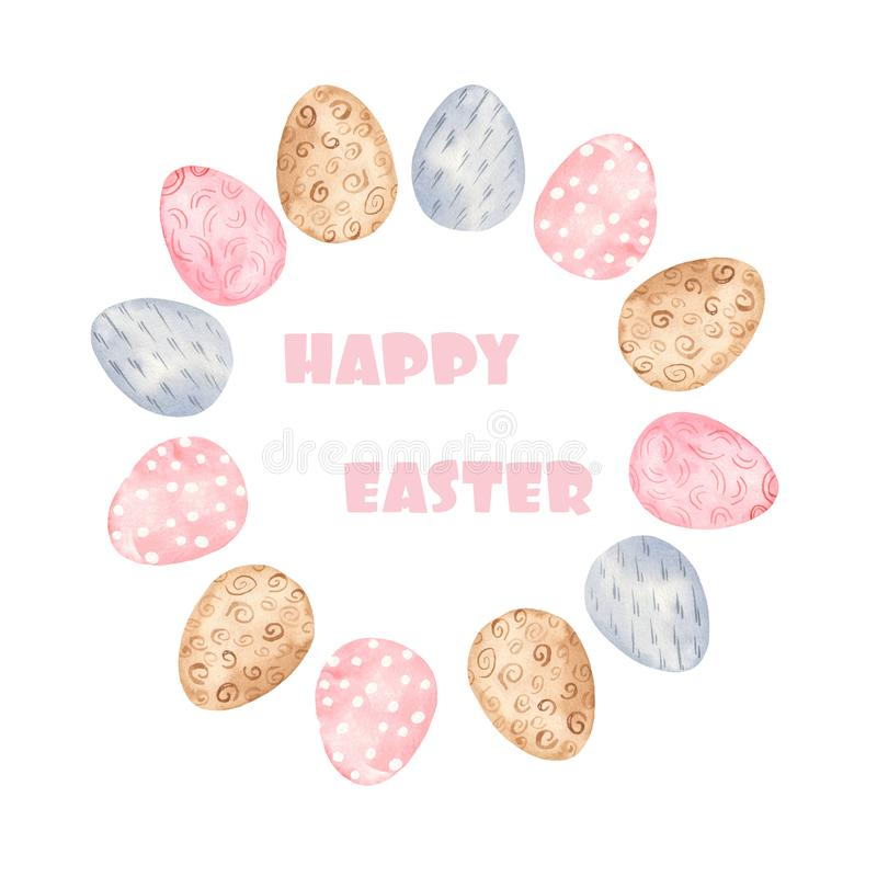 Watercolor wreath with colorful Easter eggs. royalty free illustration