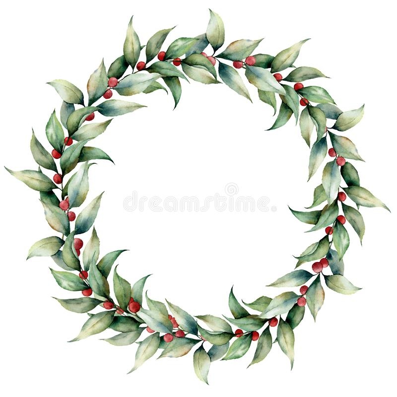 Watercolor wreath with cowberry. Hand painted floral illustration with leaves, berries and branches isolated on white vector illustration