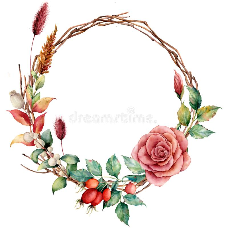 Watercolor wreath with dogrose and flower. Hand painted tree border with dahlia, tree branch and leaves, lagurus. Isolated on white background. Illustration for stock illustration