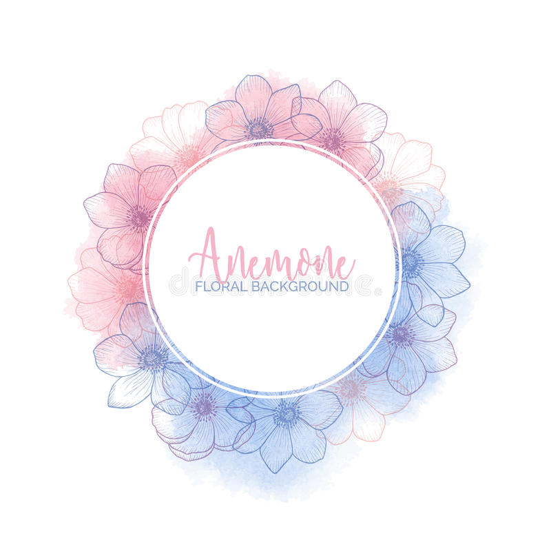 Watercolor wreath with flower anemones Rose Quartz and Serenity. Watercolor floral wreath with flower anemones of color 2016 Rose Quartz and Serenity, pink and royalty free illustration