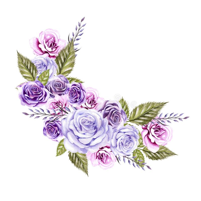 Watercolor Wreath with flowers of roses and lavender. Illustration vector illustration