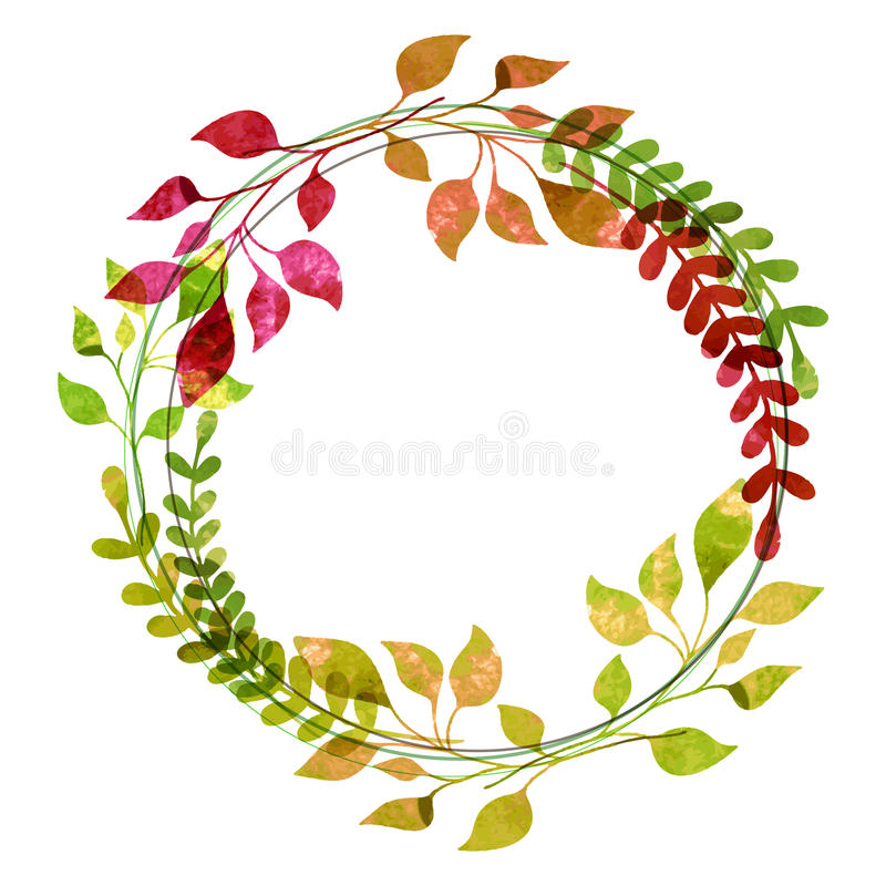 Free Watercolor Wreath From Colorful Autumn Leaves. Vector Illustration. Thanksgiving Greeting Card Template Stock Photos - 46764233