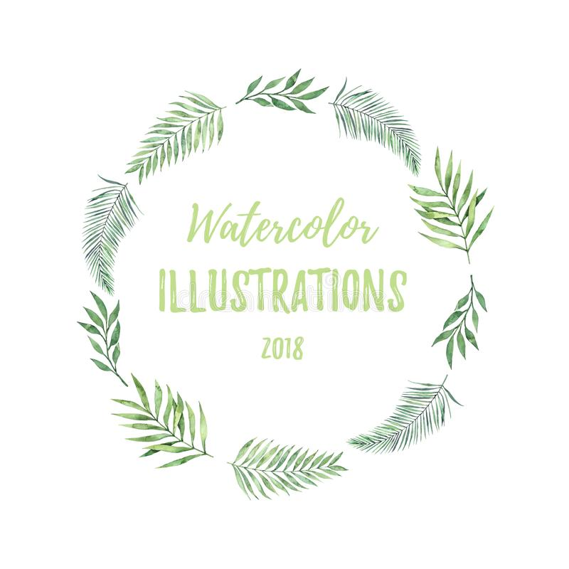 Watercolor wreath with green leaves. Tropical summer design elem. Ents. Perfect for prints, posters, invitations, greeting cards, advertising, banner etc vector illustration