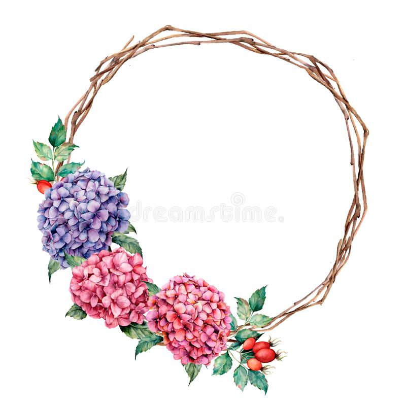 Watercolor wreath with hydrangea and dog rose. Hand painted pink and violet flowers with eucalyptus leaves isolated on vector illustration