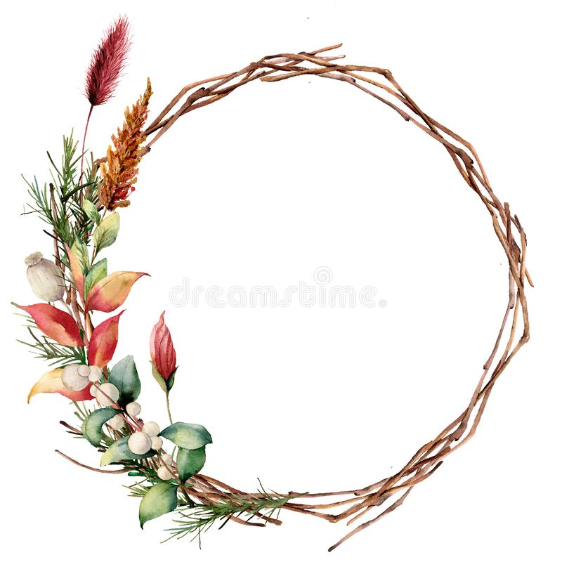 Watercolor wreath with leaves and tree branch. Hand painted tree border with snowberry, dahlia and leaves, lagurus. Isolated on white background. Illustration stock illustration