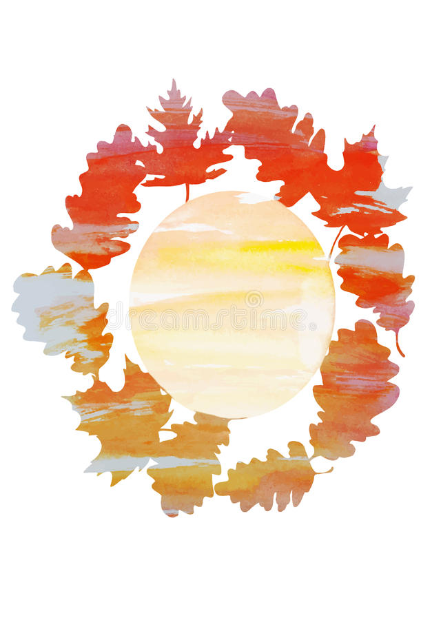 Watercolor wreath of oak and maple leaves stock illustration
