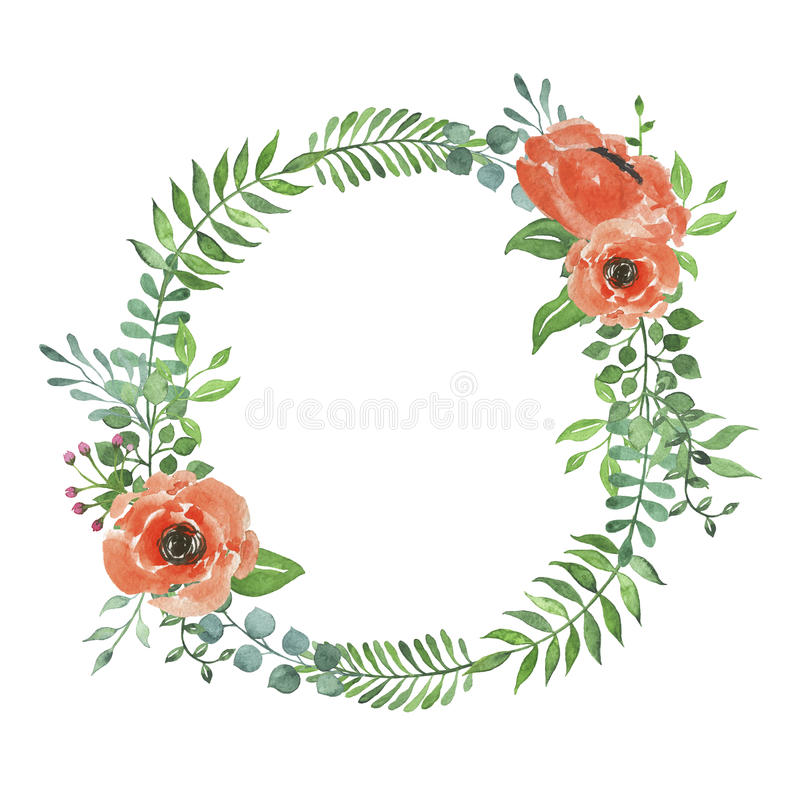 watercolor wreath with peach flowers stock illustration illustration of bright border 91128574 peach flowers stock illustration