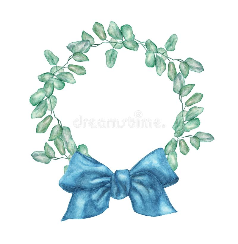 Watercolor wreath with silver dollar eucalyptus branch and blue bow. stock illustration