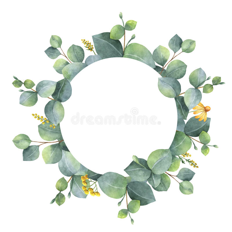 Watercolor wreath with silver dollar eucalyptus leaves and branches. stock illustration