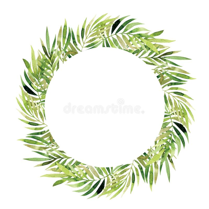 Watercolor wreath. Vintage floral trendy green leaves royalty free illustration