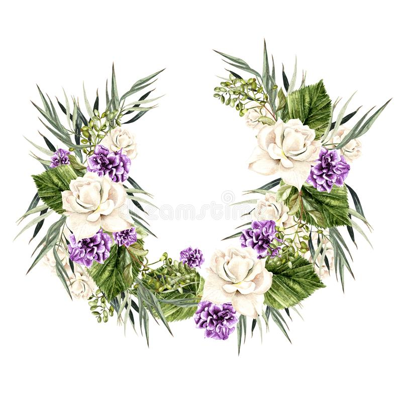 Watercolor Wreath with white and purple rose. Illustration royalty free illustration