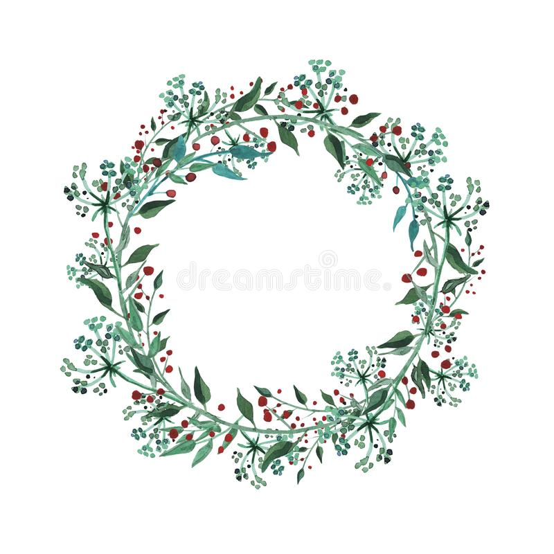 Watercolor wreath with wildflower, herbs, leaf. collection garden, wild foliage, flowers, branches. Illustration isolated on white background stock illustration