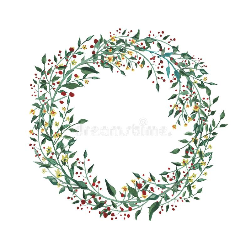 Watercolor wreath with wildflower, herbs, leaf. collection garden, wild foliage, flowers, branches. Illustration isolated on white background royalty free illustration