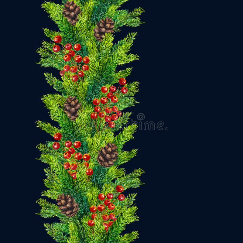 Free Watercolor Xmas Seamless Borders Of Fir Branches, Cones And Berries Royalty Free Stock Photos - 79798138