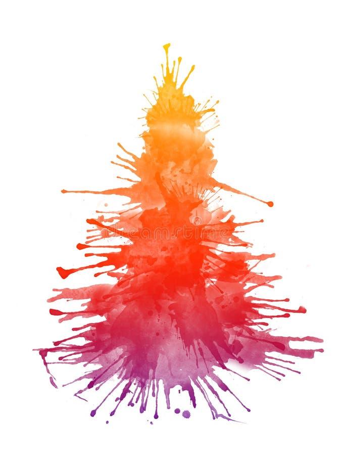 Watercolor Xmas Tree royalty free stock photo