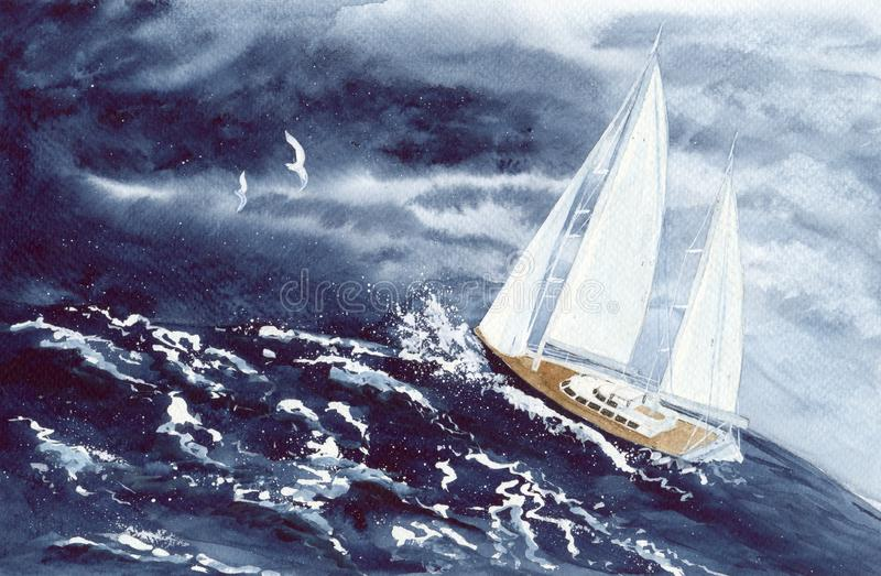 Watercolor yacht in sea storm with dark clouds stock photo