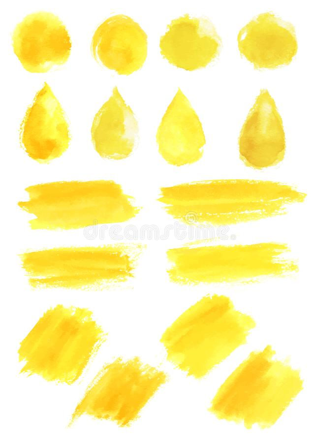 Watercolor yellow blob stains strokes vector icons. Yellow watercolor paint strokes, or watercolor paintbrush blobs and splashes. Vector abstract shape isolated vector illustration