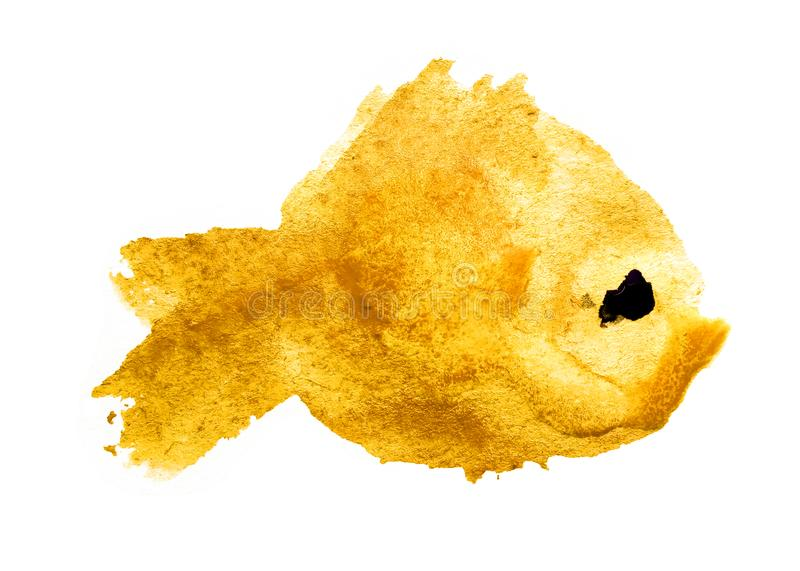 Watercolor yellow blot stain in the form a silhouette of a fish with a black eye on a white background isolated. Colorful ink of. Watercolor pink blot stain in stock illustration