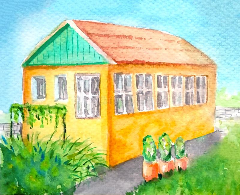 Watercolor yellow cozy cottage house with large windows on the second floor, green roof, lots of grass around, grapes. Footpath, pots with green plants, sunny stock illustration